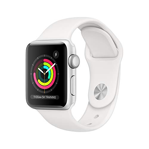 Apple Watch Series 3(GPS,38 毫米)- 银色铝制表壳配白色运动表带