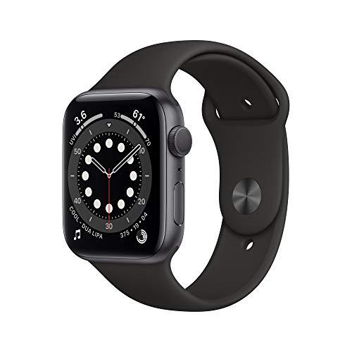 新款 Apple Watch Series 6(GPS,44 毫米)-深空灰色铝制表壳搭配黑色运动...