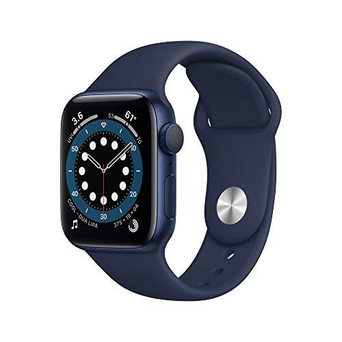 新款 Apple Watch Series 6(GPS,40 毫米)- 蓝色铝制表壳搭配深海军蓝运动表带